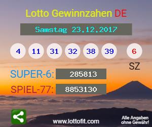 Lottozahlen Samstag 23.12 17