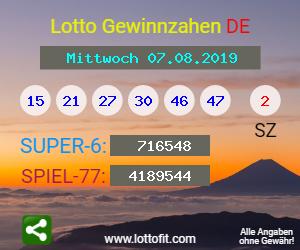 Lottozahlen 07.08.19
