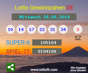 Lottozahlen 28.8.19