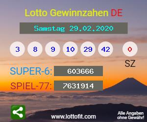 Lottozahlen 29.02.20