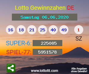 Lottozahlen 06.06.20