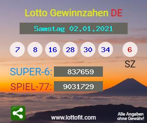 Lottozahlen Vom 02.01.2021